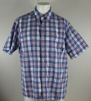 Orvis Men's Size Large Red White Blue Shirt Plaid Button Front Short Sleeve