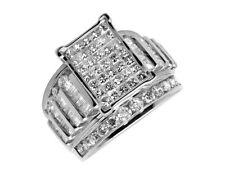 Mujer 10k Oro Blanco Baguette Corte Princesa Anillo de Compromiso con Diamante