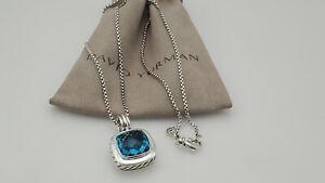 David Yurman Albion 14mm Blue Topaz Pendant Necklace & 17 in Chain