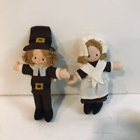 CUTE Vintage Hallmark Mr. Pilgrim & Mrs. Pilgrim dolls Thanksgiving decor toys