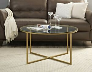 Coffee Table Glass & Gold Coffee Table 36inch UK Shipper RRP £299