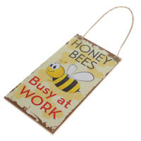 Honey Bees Busy at Work Wooden Sign Apiary Board Hanging Decor w/ Jute Twine