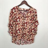 LC Lauren Conrad Rust Floral Ruffle 3/4 Sleeves Blouse Top Women's Size Medium