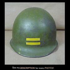 World War II M-1 Steel Army Helmet Camo Liner Painted Rank