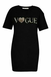Ladies Vogue Leopard Print Oversized T-Shirt Dress Short Sleeve Tunic Baggy Top