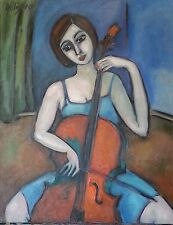 Original Oil Painting  Expressionism  Woman Girl Cellist by Dolique