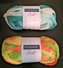 2 New Skeins of Sundance Frill 1 Orange Green Yellow Brown + 1 Turquoise White