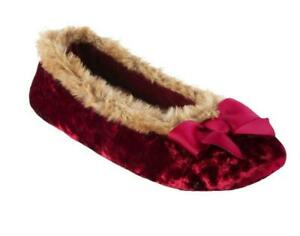 Ladies Isotoner Irradescent SOFT VELOUR Ballet Style Slippers Soft Sole ChIi RED