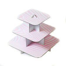 "12""  Pink Zebra Squared Cake Stand Pink White 3 Tier Cupcake Cardboard Display"