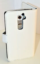 White Genuine Leather Wallet Card Case Cover Stand for LG G2, Holds Card Cash