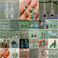 Vintage 925 Silver Turquoise Earrings Ear Hook Dangle Drop Women Wedding Jewelry
