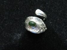 Sterling Silver Spoon Ring with Apple Jade