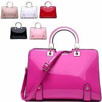 Ladies Designer Fx Patent Handbag Grab Bag Evening Shoulder Bag Tote Bag 5733