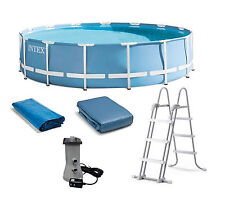 "Intex 15'x48"" 28735Eh Prism Frame Swimming Pool w/ Filter, Pump, Ladder Kit"