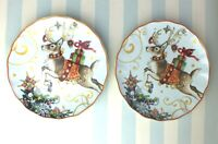 Set/2*Reindeer Salad Plates*Williams Sonoma*Twas the Night Before Christmas*New
