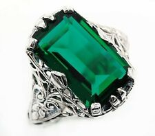 10CT Emerald Quartz 925 Sterling Silver Art Deco Style Ring Jewelry Sz 9, PR39