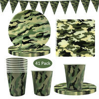 Camouflage Party Tableware Set Disposable Napkins,Paper Cups Plates Decorations