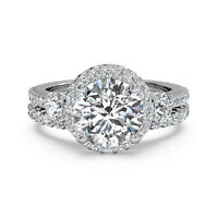 Solitaire Diamond Engagement Band Set Ring 14K White Gold Round Cut 1.90 Ct