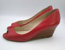 NINE WEST Size 7.5 RED Wooden Wedge Heel Peeptoe LEATHER SHOES