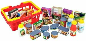 CHILDREN'S RED BOX FOOD SHOPPING / GROCERY BASKET PRETEND PLASTIC PLAYSET