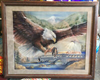 Native American Artwork Eagle Peace Talks Ink Pastel Sharal Artist Signed Neqon