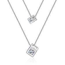 Women Fashion Solid 925 Sterling Silver Zircon LOVE Cube Pendant Necklace Gift