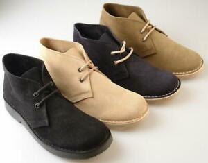 Mens Wide Fitting Desert Boots Black Brown Khaki Sand