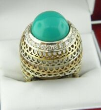 Stunning Turquoise Diamond Lace Large Ring in Solid 14k 3 Tone Gold.