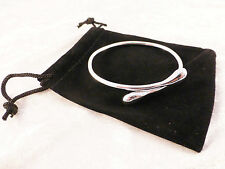 Silver Plated Simplified Snake Cuff / Bangle / Bracelet + Free Gift Bag