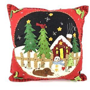 Christmas Decorative Pillow Felt Applique Cabin Snowman Puppy Beads Sequins