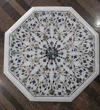"""12"""" white marble table top dining coffee room decor inlay malachite b20"""