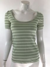 Rue 21 Womens Knit Top Size Small Green Striped Short Ruched Sleeve Shirt