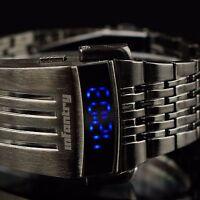 INFANTRY Herren LED Digital Armbanduhr Uhr Datumsanzeige Mode Edelstahl Schwarz