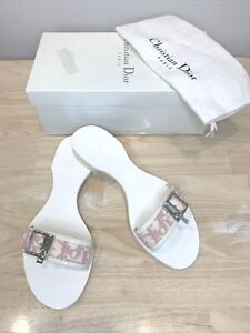 NEW DIOR Pink And White Wooden Wedge Sandals Slips slides Size 11B