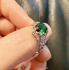 Vintage Emerald  Ring Size 8 Sterling Silver Filigree Ring