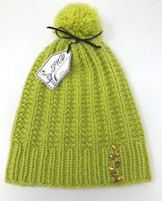 Women Beanie Hat Hand Knit 100% Cashmere Yellow Hand Decorated Crystal Beads