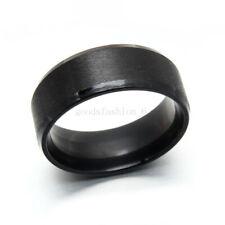 Free 20pcs Wholesale lots 8Mm Titanium Steel Ring Band Plain Simple Black