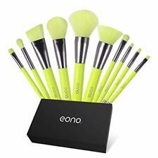 Eono by Amazon - 10 Piece Makeup Brushes Set Professional, Neon Green Makeup