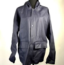 NWT Elka Regntoj Navy Blue Raincoat Snap Buttons Hooded Jacket Rubber Mens Sz S