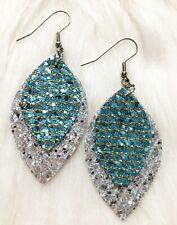 Small Aquamarine & Silver Glitter Sparkle Faux Leather Earrings Double Layer