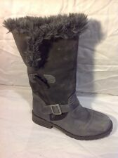 Next Grey Mid Calf Leather Boots Size 3