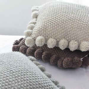 Throw Pillow Cover Cushion Case Knitted Pom Pom Sofa Chair Bed Home Decor Modern