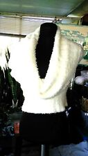 BEBE WOMEN'S COTTON SOFT WIDE SWEATER;   IVORY WHITE PULLOVER; SIZE MEDIUM