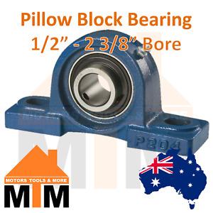 "Pillow Block Bearing Self Aligning Bottom Foot Housing 1/2"" - 2 3/8"" Inch Bore"