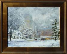 """""""Chase Park Plaza in Winter, St.Louis""""   o/c, listed artist Irek T. Szelag"""