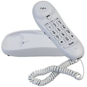 Blue Donuts BD-016WHT-Slimline White Colored Phone For Wall Or Desk With Memory