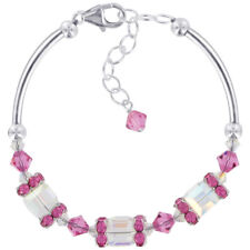 "925 Silver AB Clear and Pink Crystal 6.5"" Bracelet Made with Swarovski Elements"