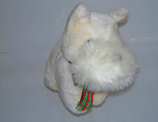 "Accent~7"" White Scottish Terrier Puppy Dog Red Green Ribbon~Plush Stuffed Animal"