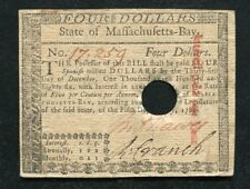 MA-281 MAY 5, 1780 $4 FOUR DOLLARS MASSACHUSETTS-BAY COLONIAL CURRENCY