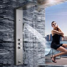 Thermostatic Rain&Waterfall Brushed Nickel Shower Panel Massage Jets Tub Tap